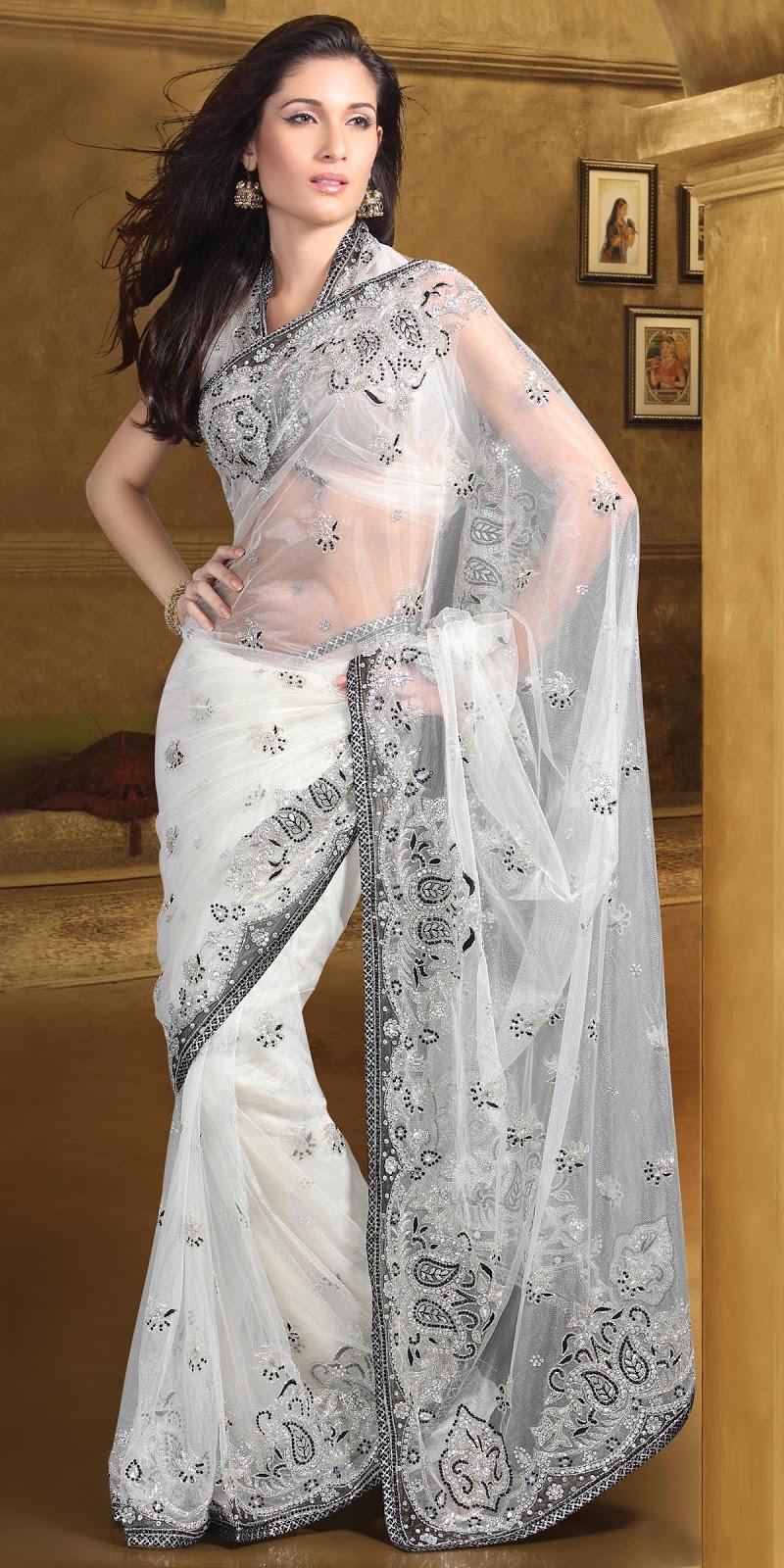 White Saree Tamanna In Veeram