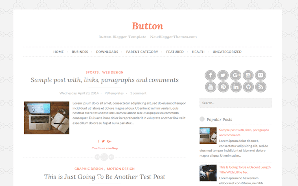 Button Free Blogger Template