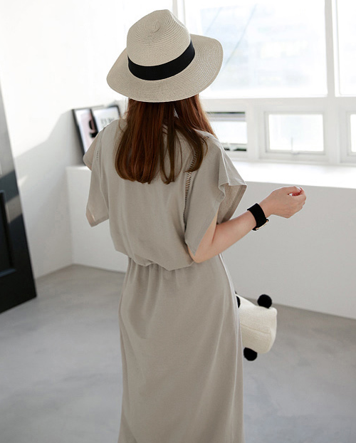 Mid-Calf Elastic Waist Dress