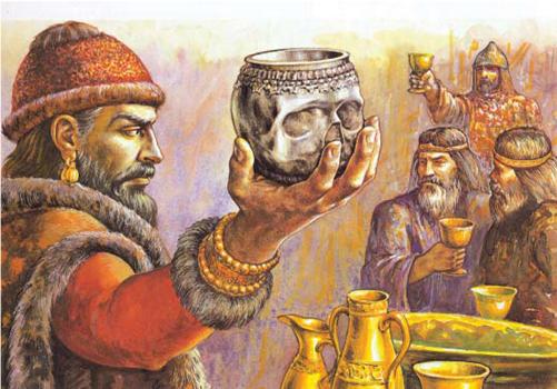 Krum celebrating with skull