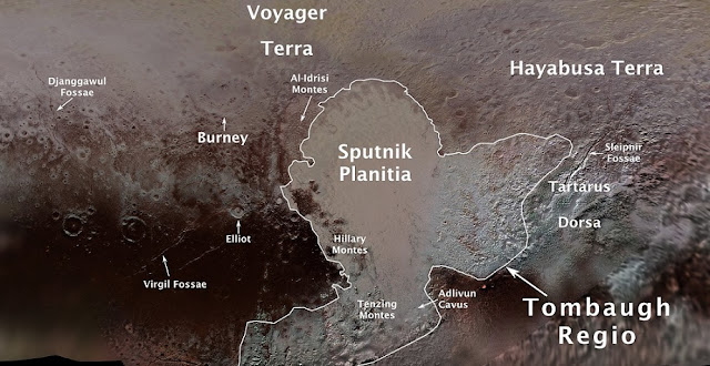 Pluto's first official surface-feature names are marked on this map, compiled from images and data gathered by NASA's New Horizons spacecraft during its flight through the Pluto system in 2015.  Credit:  NASA/JHUAPL/SwRI/Ross Beyer