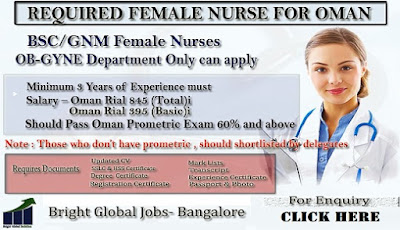 REQUIRED FEMALE NURSE FOR OMAN- APPLY TODAY