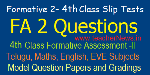 4th Class Formative 2/ FA 2 CCE Model Question Papers/ Slip Tests, Grading Table