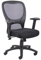 Contemporary Mesh Chair with Leather Trim
