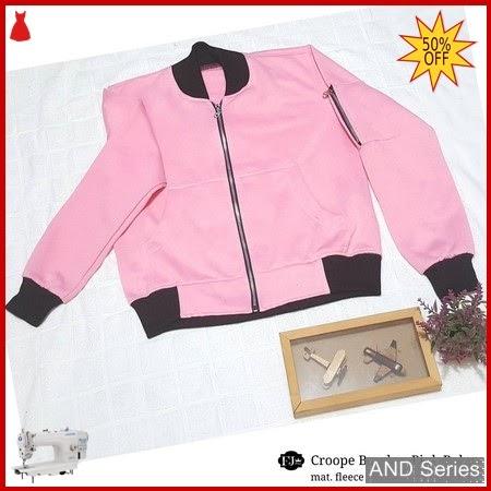 AND215 Jaket Wanita Bomber Crop Pink Baby BMGShop
