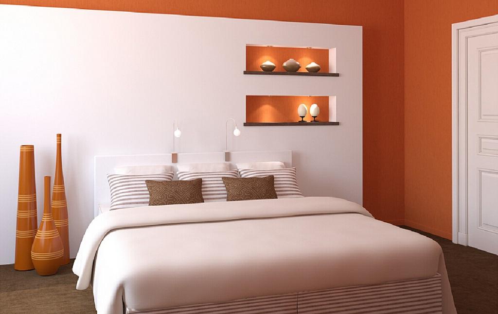 Fotos de quartos casal cor de laranja  Decorao e Ideias