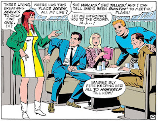 Amazing Spider-Man #44, John Romita, Mary Jane meets the gang at the Coffee Bean, Peter Parker, Gwen Stacy, Flash Thompson, Harry Osborne