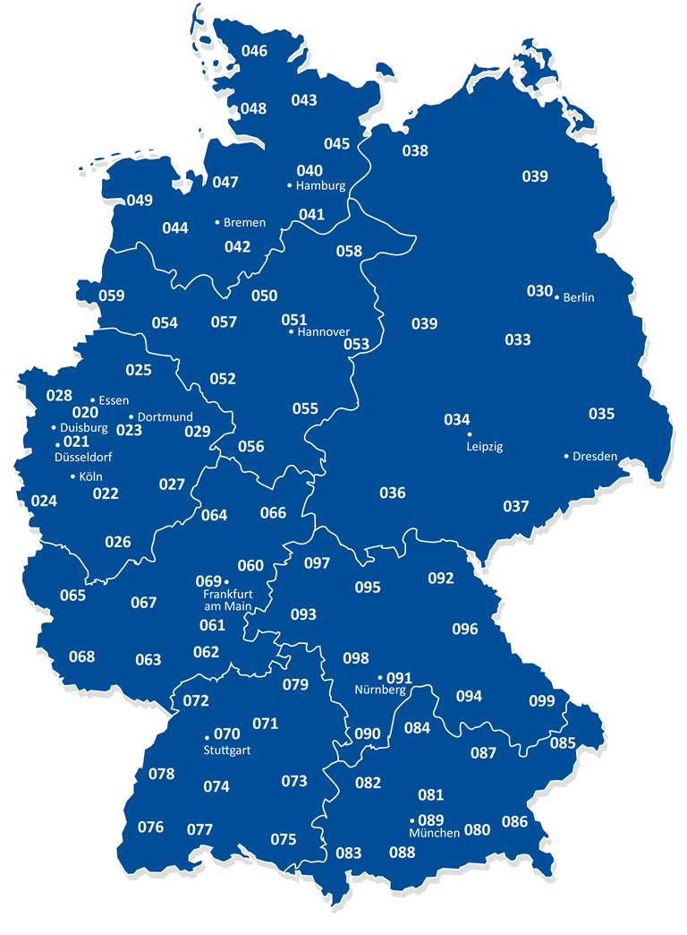 landkartenblog telefonvorwahlkarte von deutschland das rtliche zeigt uns woher welche vorwahl. Black Bedroom Furniture Sets. Home Design Ideas