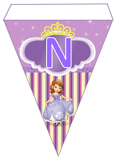 Banderines para Cumpleaños de la Princesa Sofía para Imprimir Gratis. Sofia the First Free Printable Bunting.