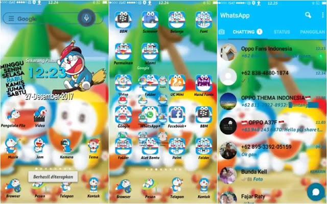 Tema Oppo Doraemon Tembus Whatsapp Lucu