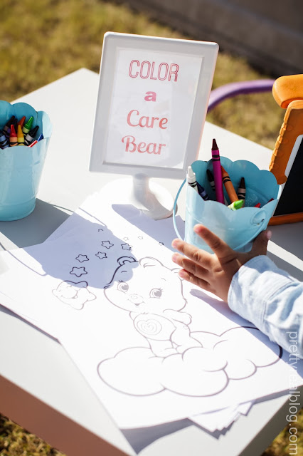 Coloring station at a Care Bears Party
