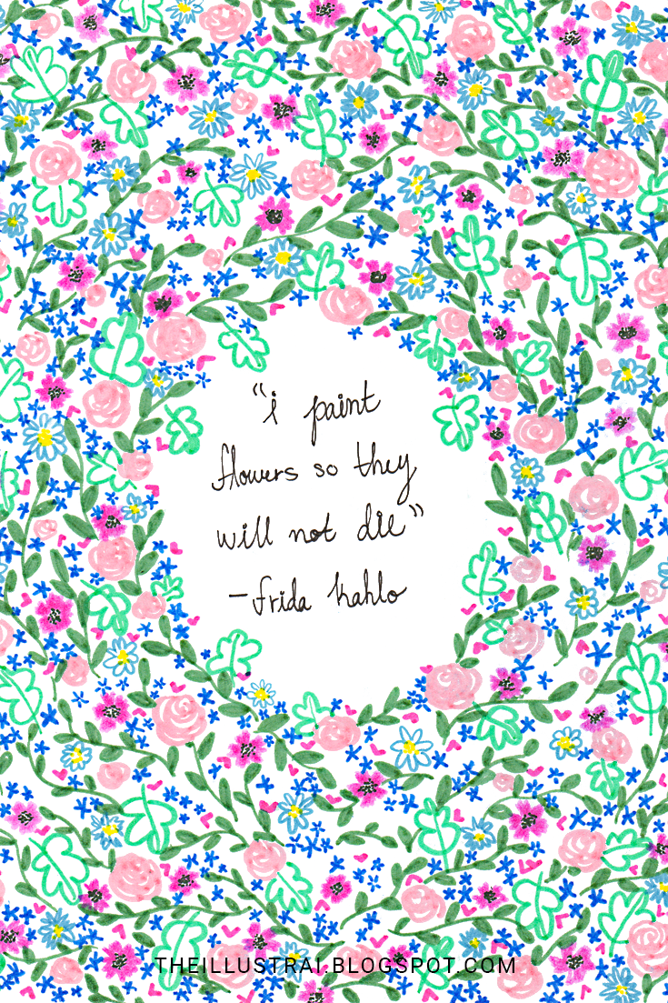 The finished artwork of this Frida Kahlo quote using a limited color palette.