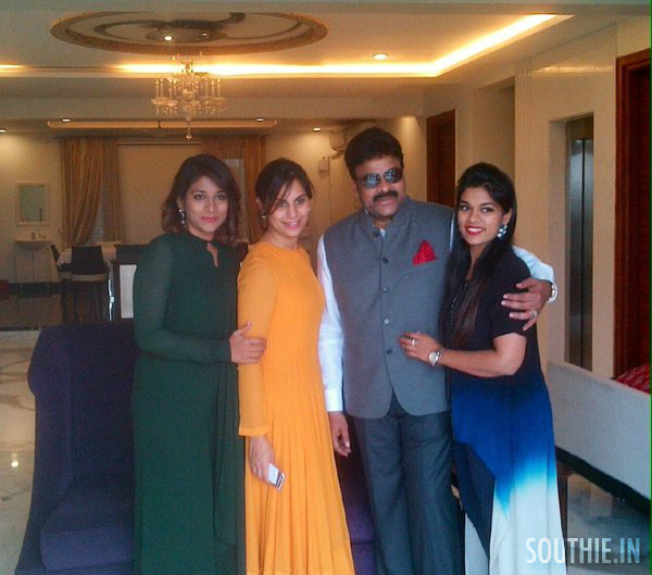 Megastar Chiranjeevi with the ladies of his house. Chiranjeevi and Daughters. A candid photo at a family gathering.