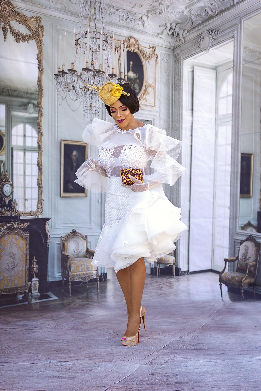 Little White Dress + Gold Fascinator b1be7465377