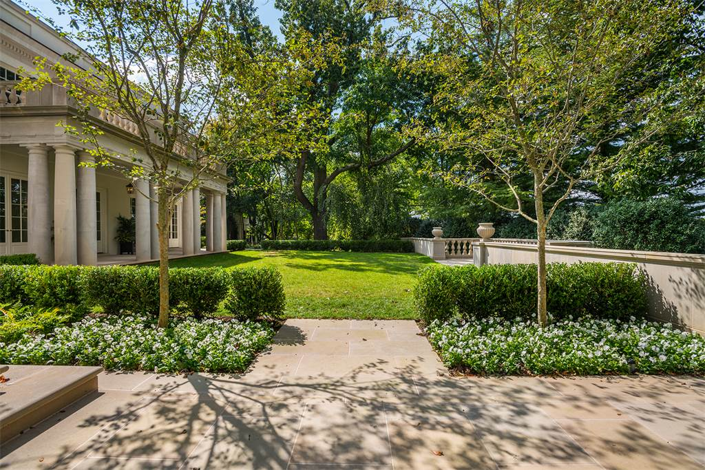 Washington DC luxury mansion Kalorama exterior lawn landscape regency style limestone