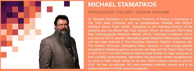 Picture of Dr. Michael Stamatikos with a brief biography [text below]. Image Courtesy of Dr. Stamatikos.