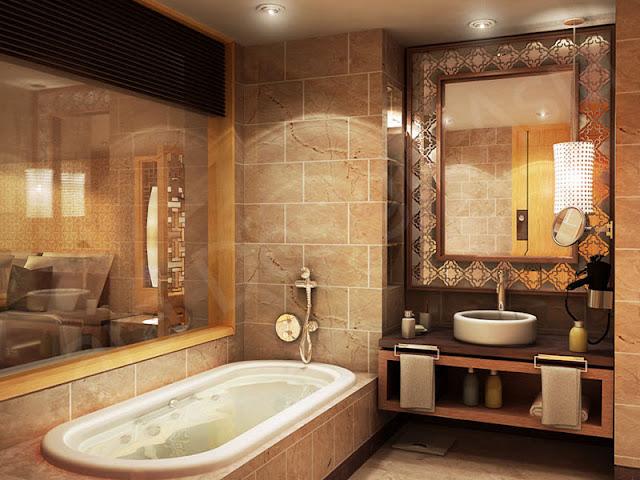 Phòng tắm trông hài hòa khi kết hợp hài hòa các màu sắc