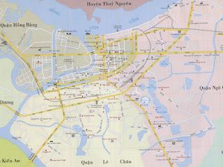 Mappa del centro della città di Haiphong (Vietnam)