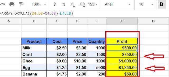 Array Formula in Google Sheet