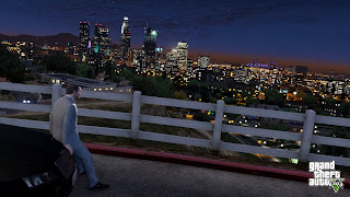 Grand Theft Auto Michael looking over Los Santos at night