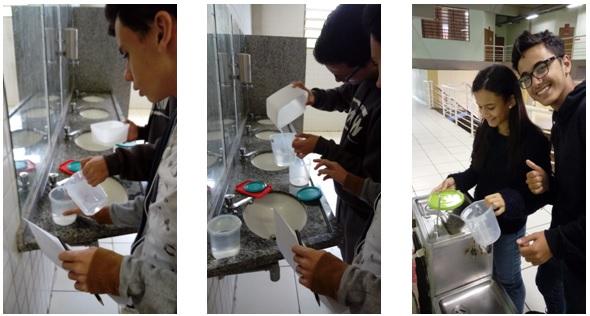 Figuras 5, 6 e 7:Alunos realizando as medições com água e auxílio do medidor de cozinha.
