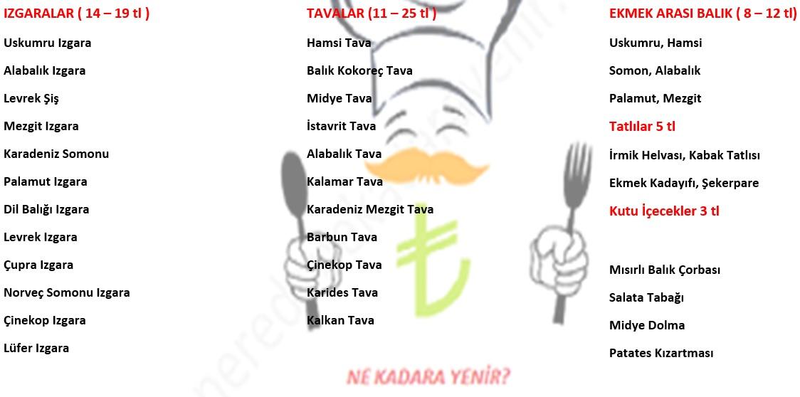 mercan balık menü fiyat listesi