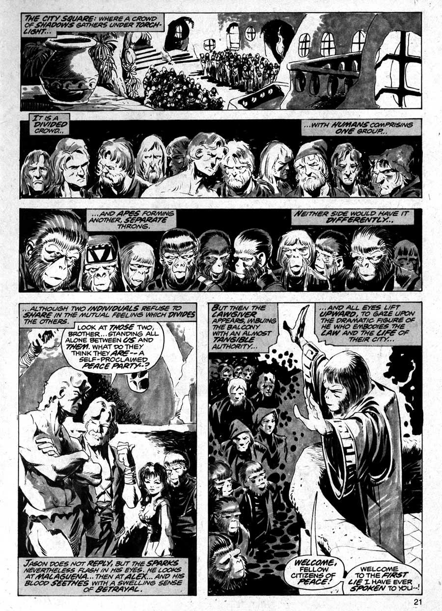 Planet of the Apes v1 #11 curtis magazine page art by Mike Ploog