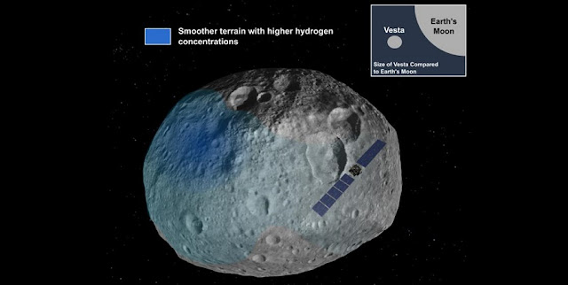 Large, smooth areas on exoplanet Vesta correlated with higher concentrations of hydrogen. Image provided by Elizabeth Palmer and Essam Heggy