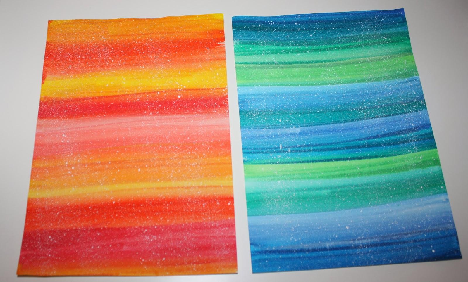 klassenkunst schneemannbild mit warmen kalten farben. Black Bedroom Furniture Sets. Home Design Ideas