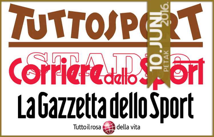 Italijanska štampa: 10. juni 2016. godine