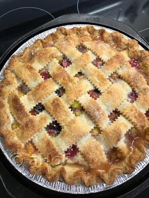 Rhubarb Pineapple Pie just baked