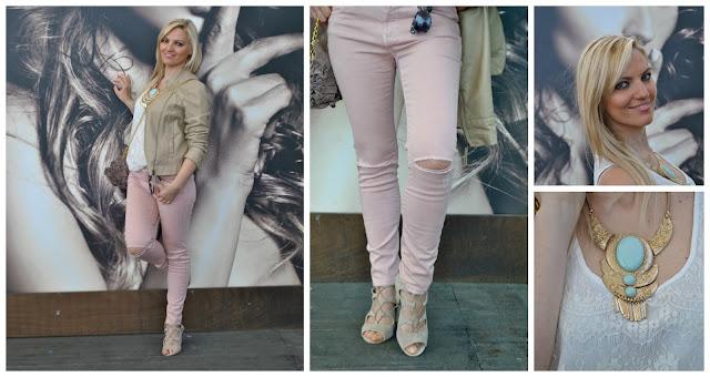 come abbinare i jeans strappati abbinamento jeans e tacchi giacca di pelle beige outfit primaverili outfit maggio 2016 mariafelicia magno fashion blogger blogger italiane