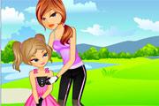 لعبة بنت مع امها