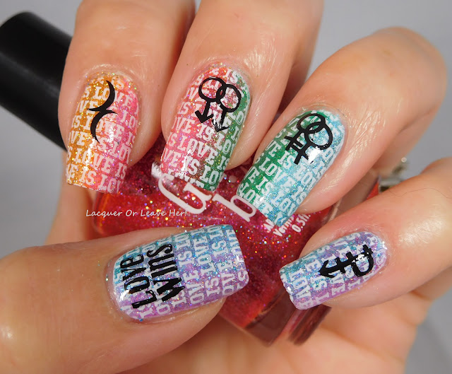 It Girl Nail Art Fashion Plate IG-118 over Girly Bits Cosmetics holos