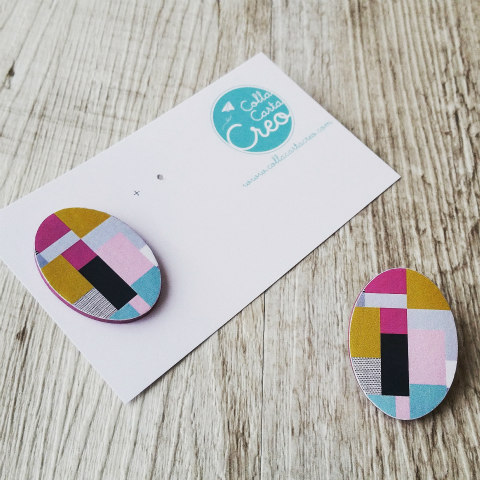 oval color block paper post earrings