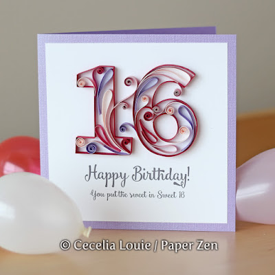 Quilling Number E-book Birthday Card