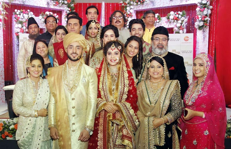 Lead actors Adnan Khan and Eisha Singh along with the cast at the launch of Zee TV's upcoming fiction show Ishq Subhan Allah