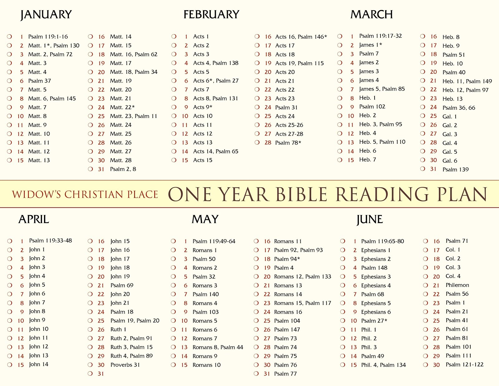 Click Image to Print Bible Reading Plan