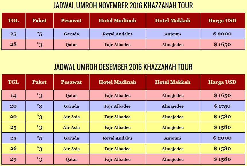 Paket umroh November Desember 2016 Khazzanah Tour