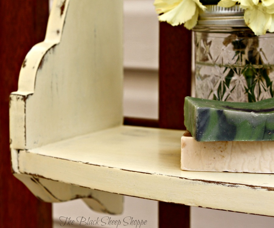 Cream chalk paint sanded for a rustic cottage style.