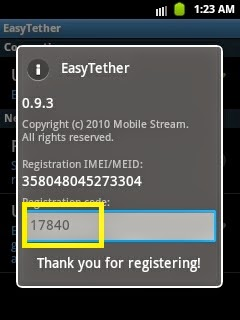 Easy Tether ventana registro
