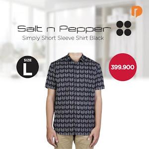 Salt N Pepper Simply Short Sleeve Shirt Size L Black