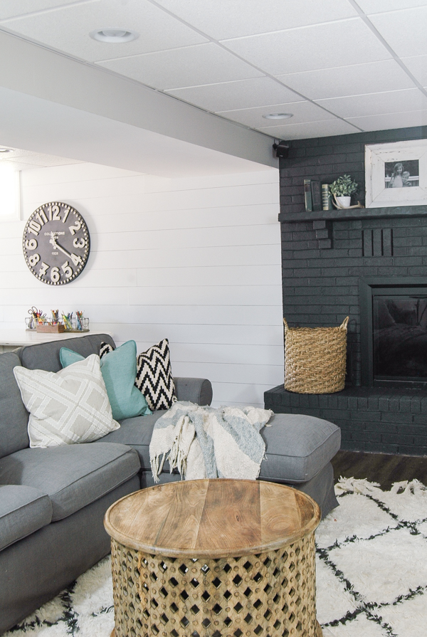 Modern farmhouse basement, adding contrast,