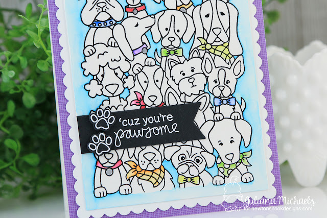Pawsome Dog Card by Juliana Michaels featuring Newton's Nook Designs Woof Pack Stamp Set
