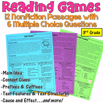 These reading games are perfect for test prep! This set includes 12 nonfiction passages written for 3rd graders. After reading each passage, students answer 6 multiple choice questions. Reading skills include main idea, text features, context clues, cause and effect, affixes, and more!