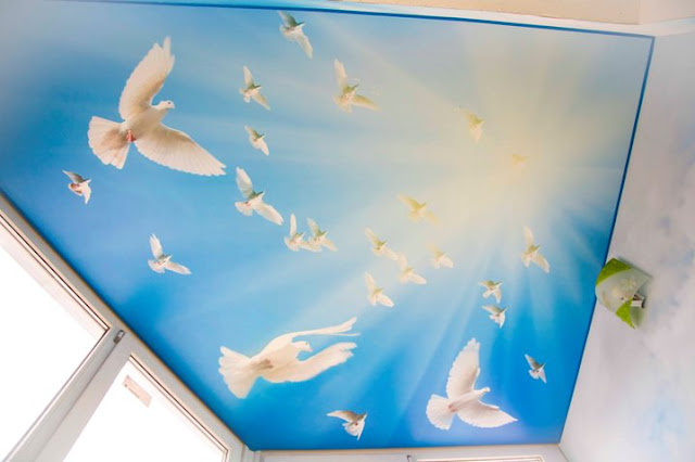 awesome stretch ceiling for kid's room birds design