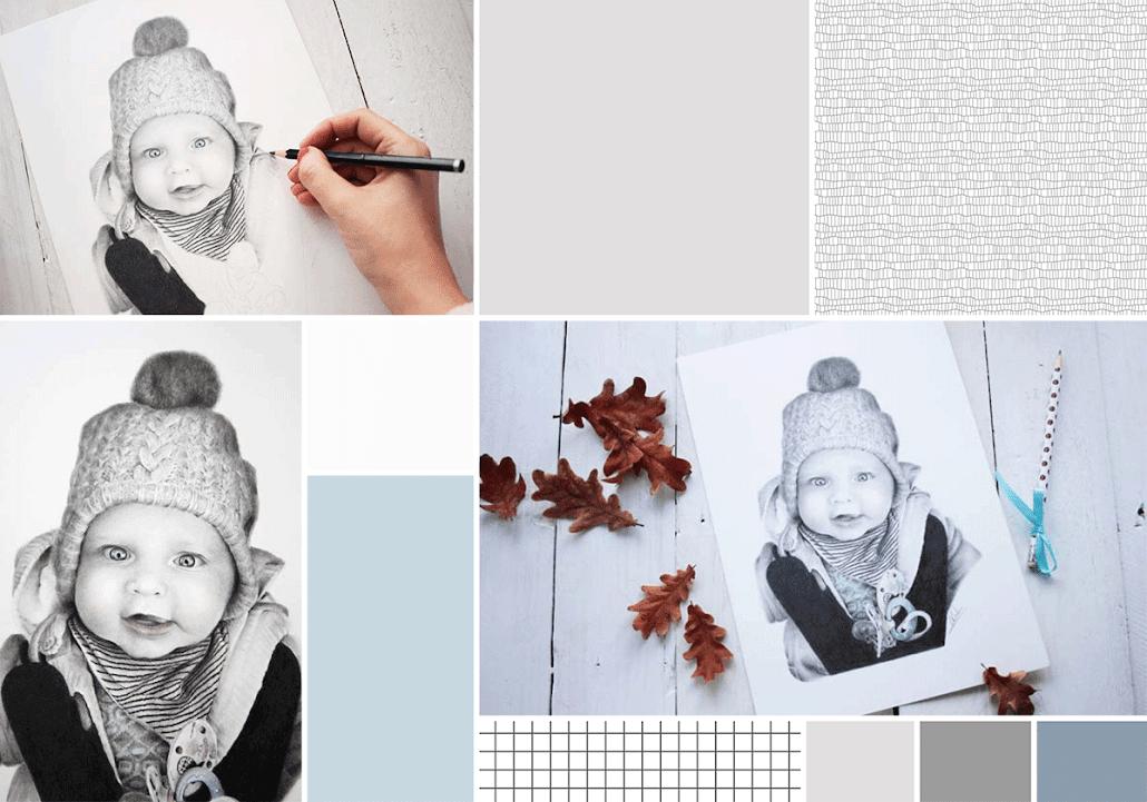 Retrato infantil realista dibujado a lápiz
