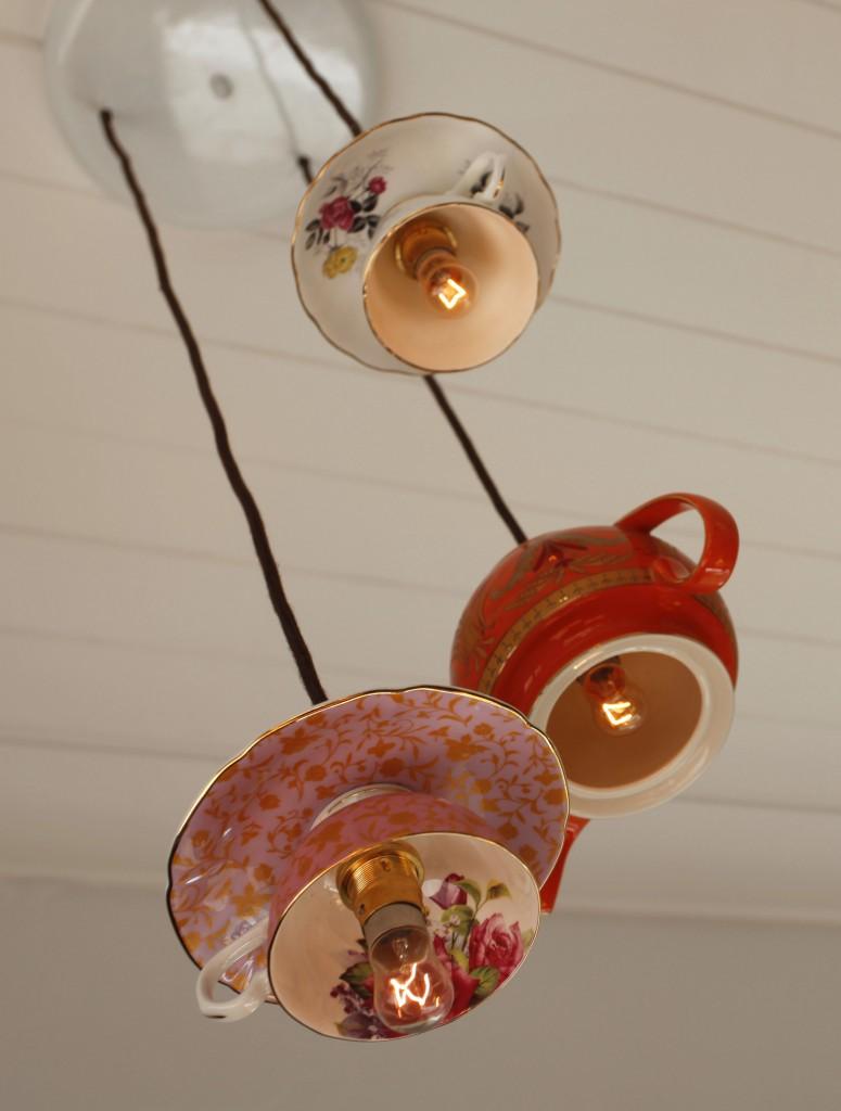 Dishfunctional designs crafts home decor made with - Lamparas de techo hechas en casa ...