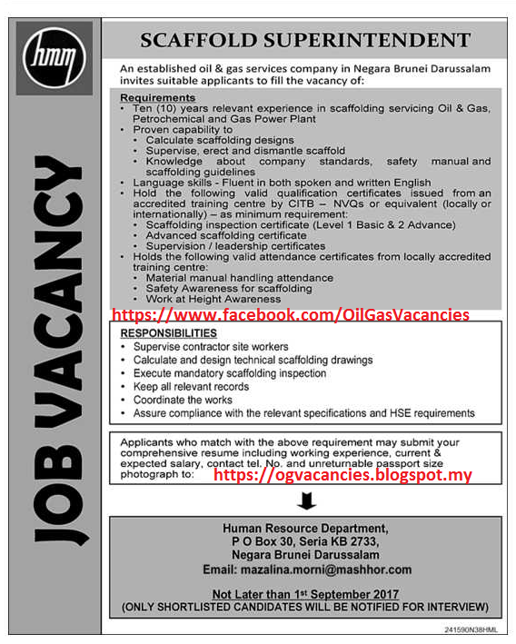 Oil &Gas Vacancies: SCAFFOLD SUPERINTENDENT - MASHOR - BRUNEI