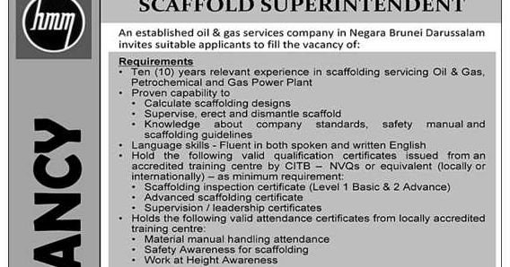 Oil &Gas Vacancies: SCAFFOLD SUPERINTENDENT - MASHOR - BRUNEI